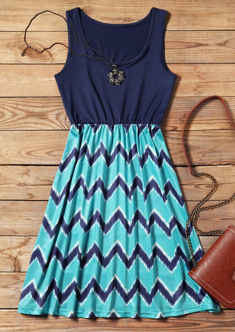 Mini Dresses Zigzag Printed Fashion Mini Dress in Navy Blue. Size: S,M,L,XL фото