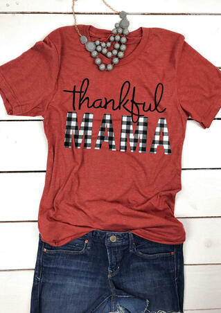 Plaid Thankful Mama T-Shirt Tee - Orange