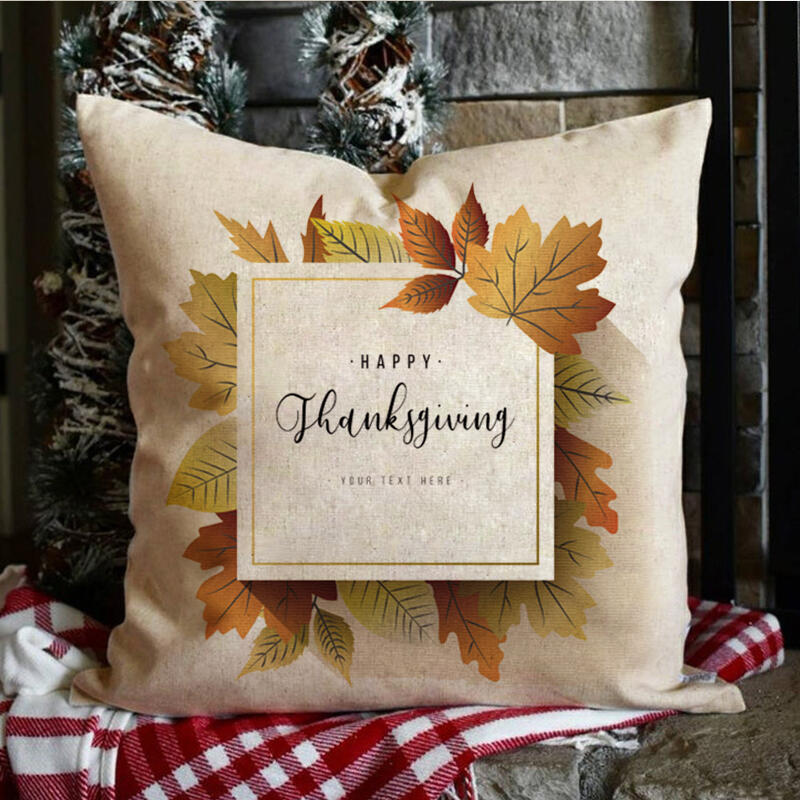 & Maple Leaf Decoration Pillowcase without Pillow in Khaki. Size: One Size фото