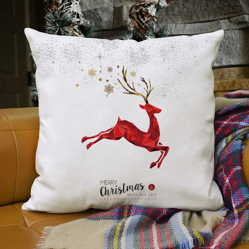 Merry Christmas Moose Snowflake Pillowcase without Pillow