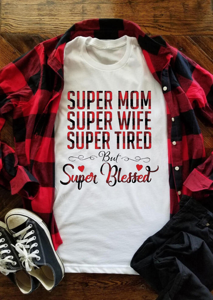 Plaid Splicing Super Mom Super Wife Super Tired T-Shirt Tee - White фото