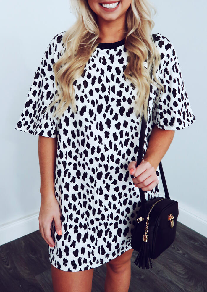 Leopard Printed O-Neck Mini Dress