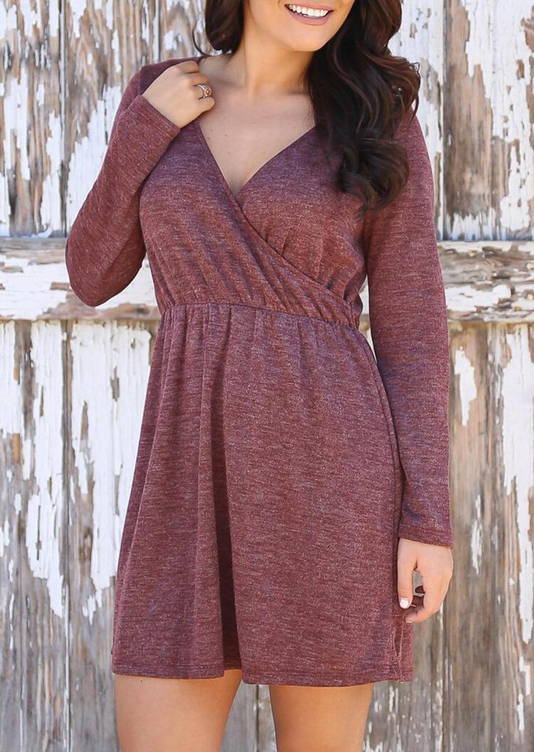 Wrap Long Sleeve V-Neck Mini Dress – Cameo Brown