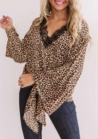 Leopard Printed Lace Splicing V-Neck Blouse