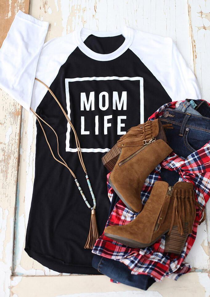 MOM LIFE Printed Splicing T-Shirt