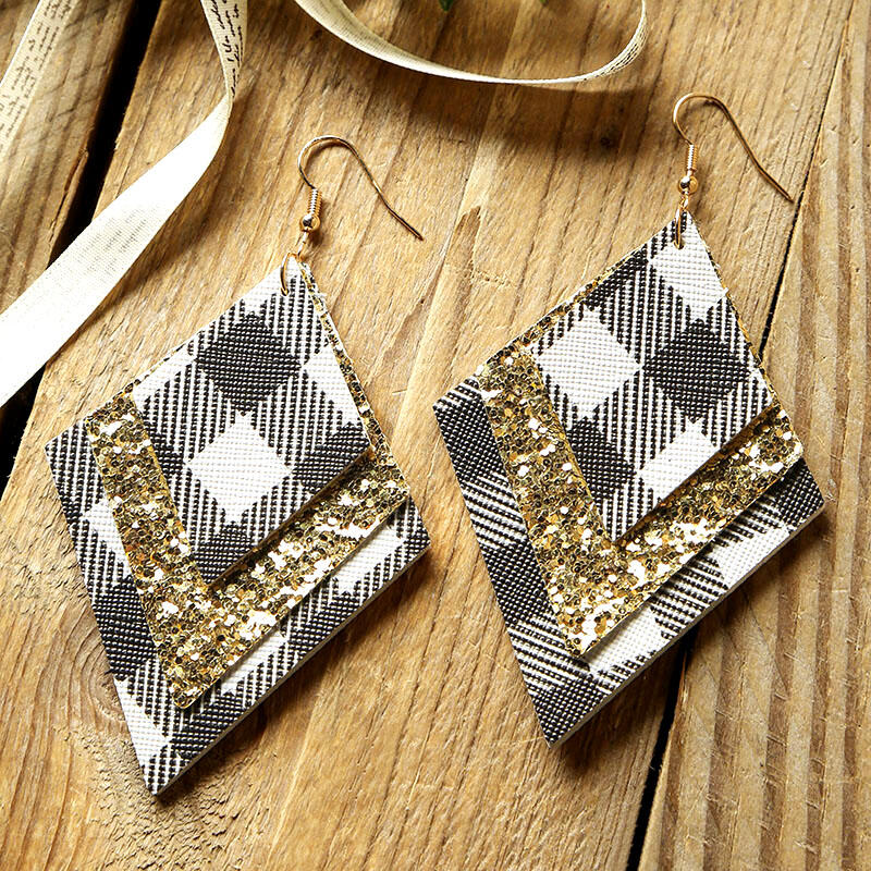 Plaid Sequined Diamond-Shaped Three-Layered Leather Earrings фото