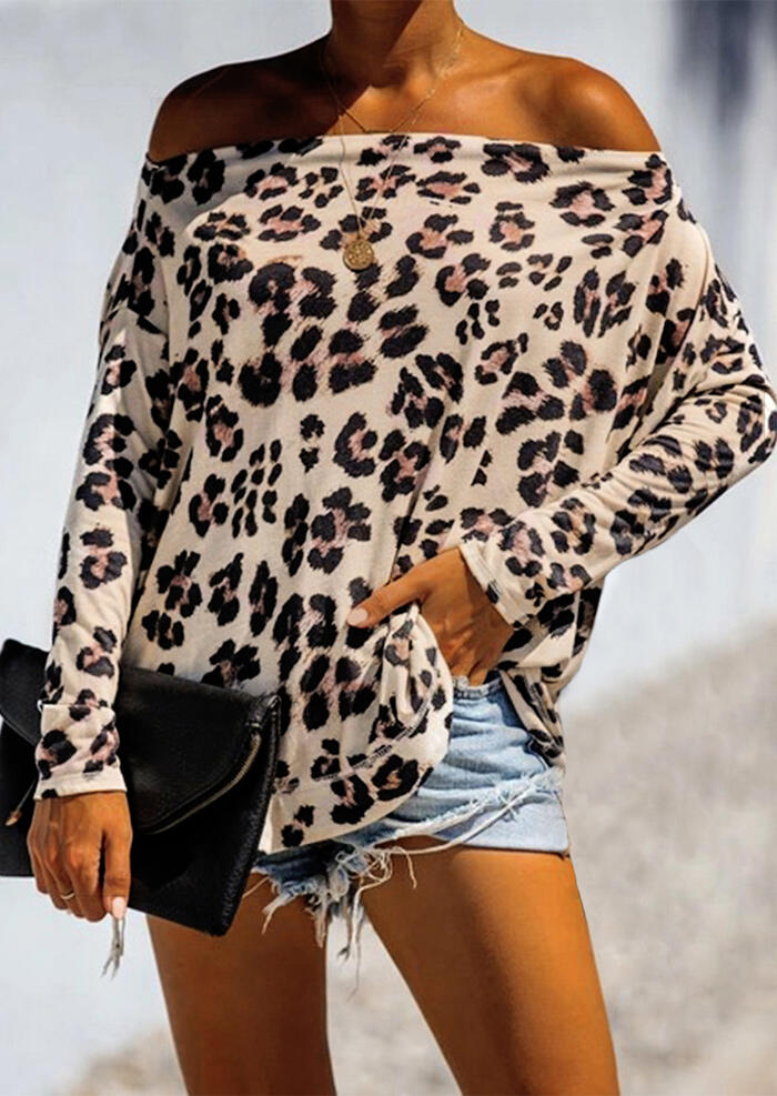 Leopard Printed Off Shoulder Batwing Sleeve Blouse without Necklace