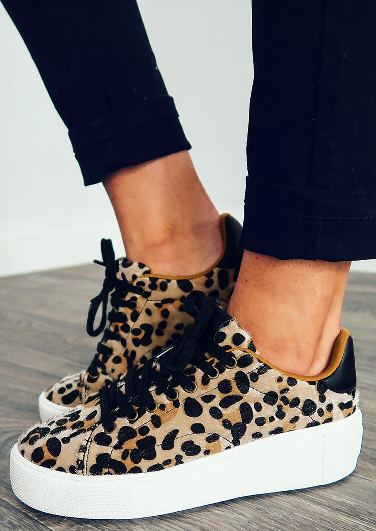 Leopard Printed Lace Up Round Toe Platform Sneakers фото