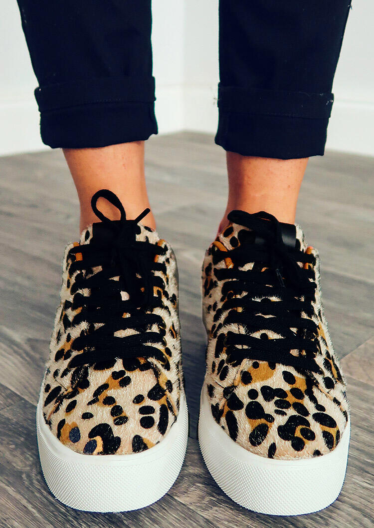 Leopard Printed Lace Up Round Toe