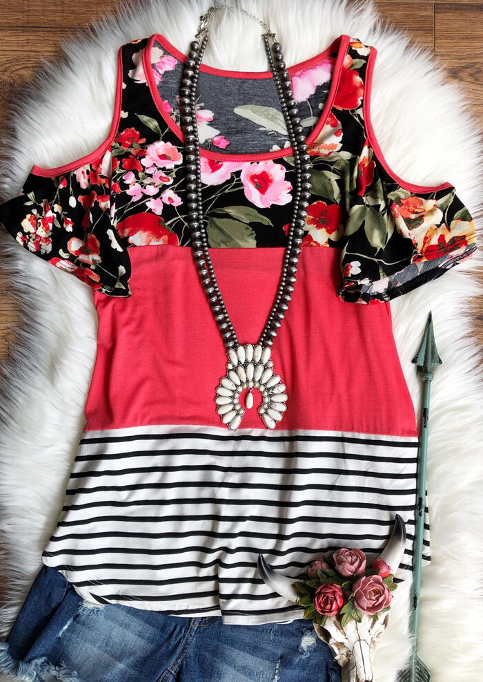 Floral Striped Splicing Blouse without Necklace – Watermelon Red
