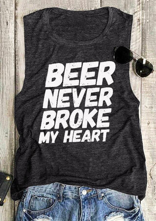 Beer Never Broke My Heart Tank - Dark Grey