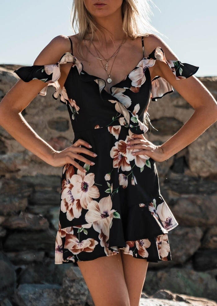 Floral Ruffled Spaghetti Strap Mini Dress without Necklace - Black фото