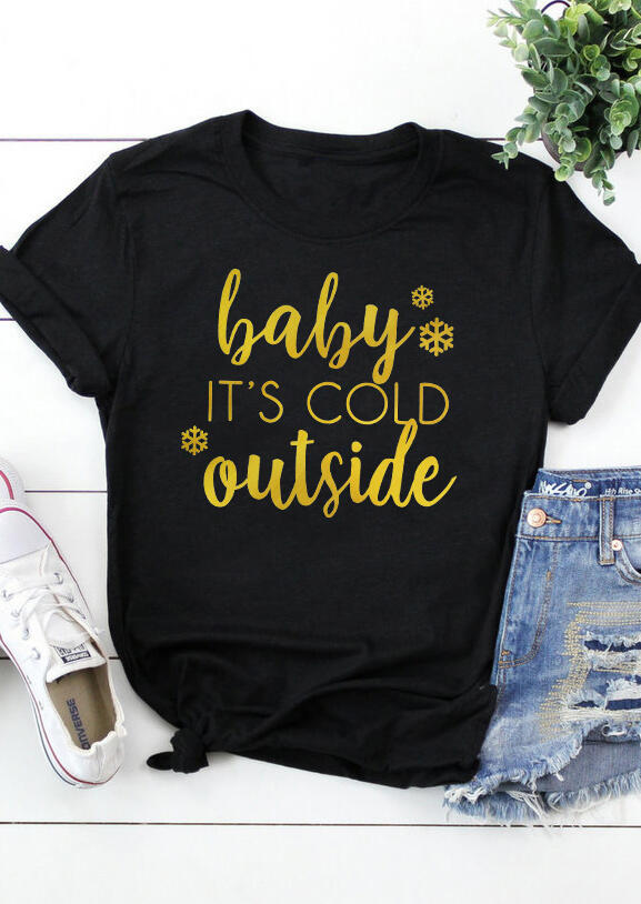 Tees T-shirts Baby It's Cold Outside T-Shirt Tee in Black. Size: S,M фото