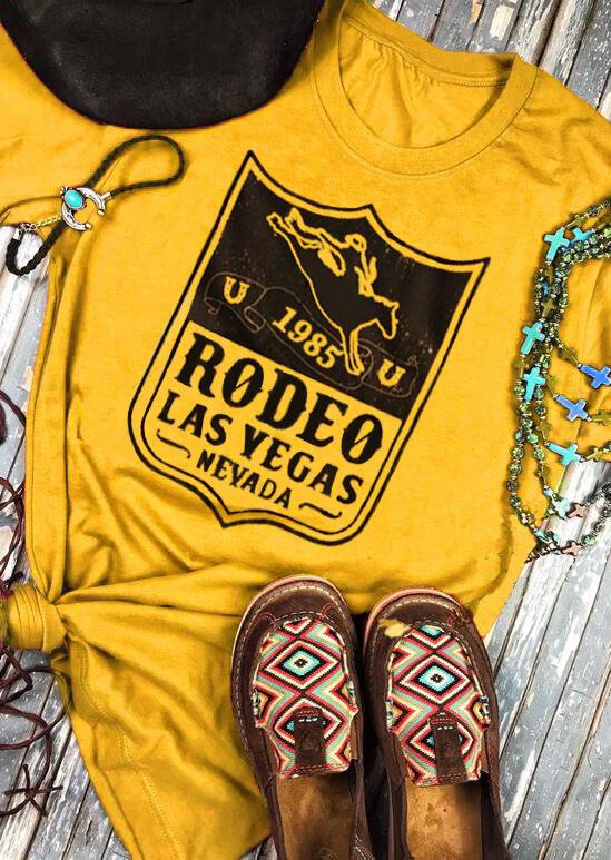 1985 Rodeo Las Vegas Nevada O-Neck T-Shirt Tee - Yellow фото