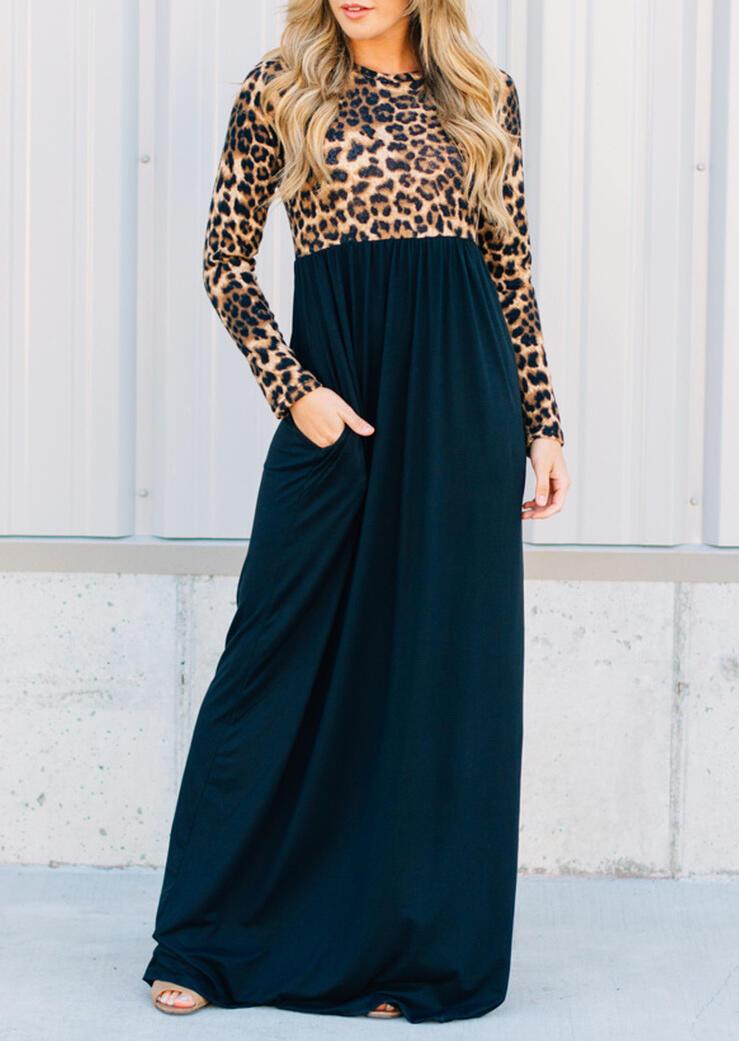 Leopard Printed Pocket Ruffled Maxi Dress