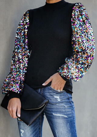 Sequined Splicing Lantern Sleeve Blouse - Black