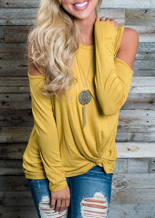 Twist Cold Shoulder Long Sleeve Blouse without Necklace – Yellow