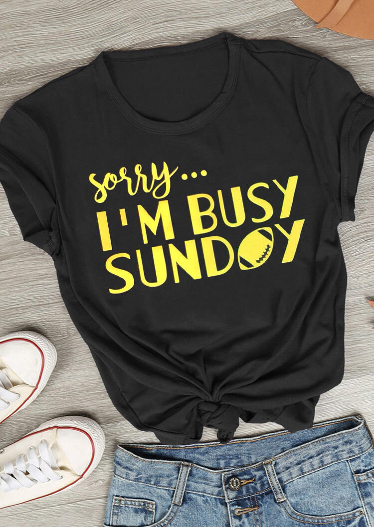 Tees T-shirts Sorry I'm Busy Sunday Football T-Shirt Tee in Black. Size: S,M,L фото
