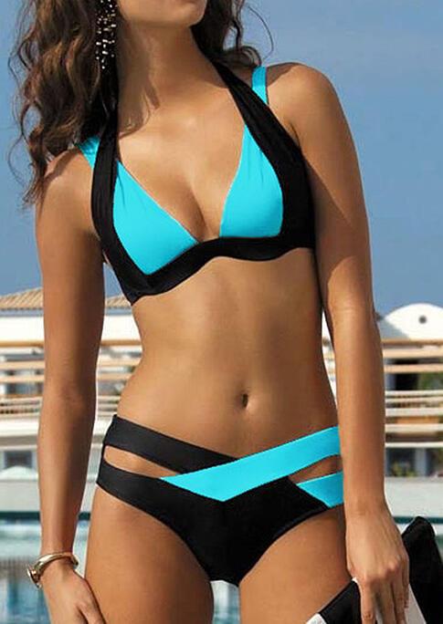 Bikini Sets Color Block Splicing Criss-Cross Halter Bikini Set in Blue,Purple. Size: L,XL фото