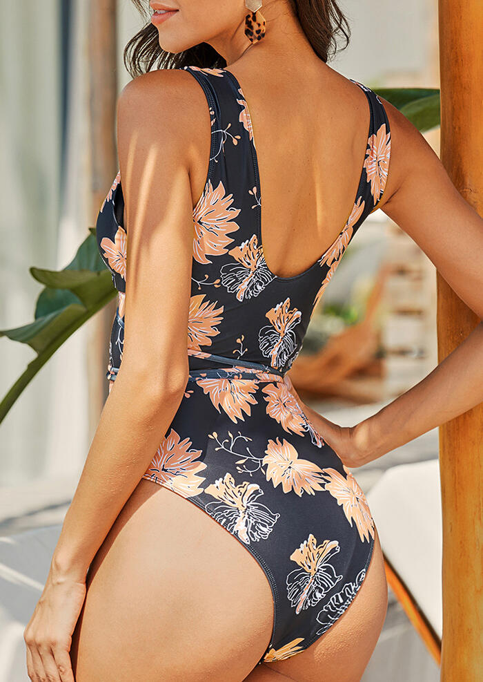 Floral Criss-Cross Tie One-Piece Swimsuit - Black