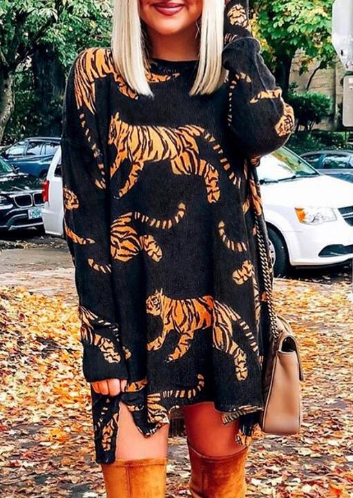 Tiger Slit Long Sleeve Mini Dress – Black