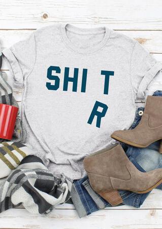 Shirt O-Neck T-Shirt Tee - Light Grey