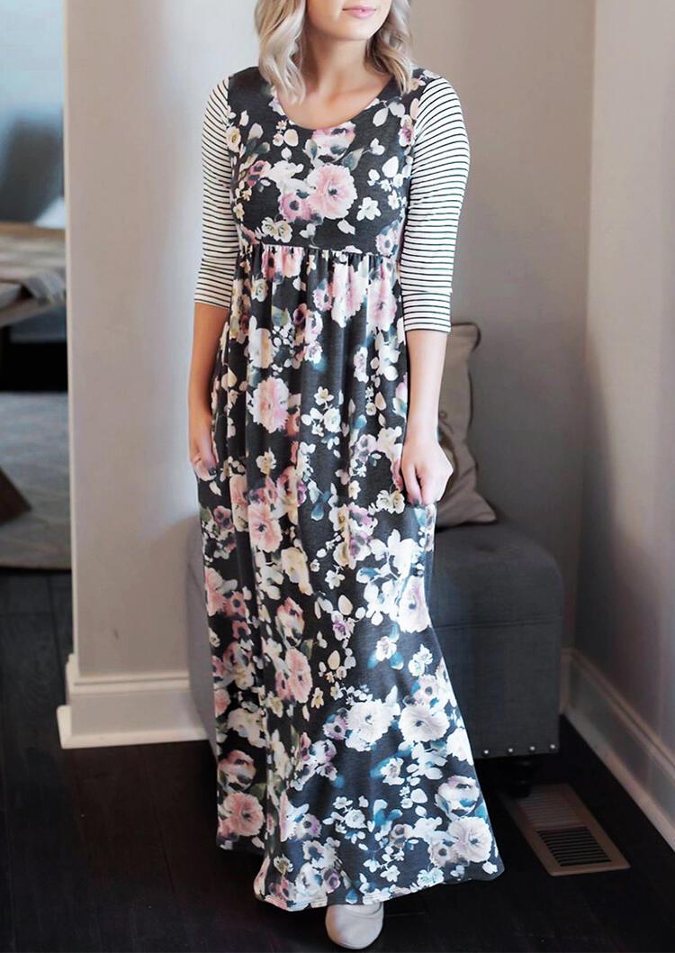 Floral Striped Splicing Pocket Maxi Dress – Dark Grey