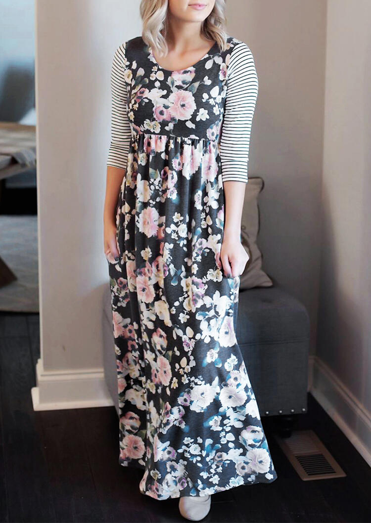 Maxi Dresses Floral Striped Splicing Pocket Maxi Dress in Dark Grey. Size: S,M,L,XL фото