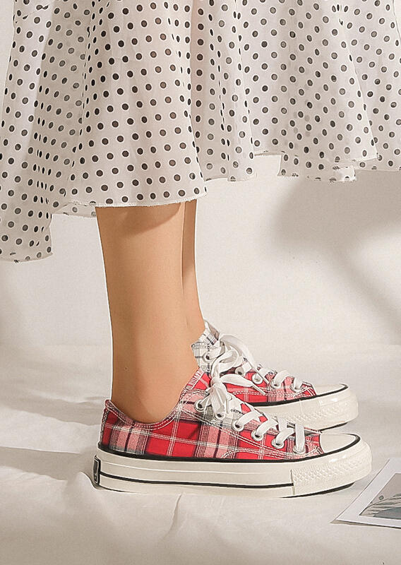 FairySeason / Plaid Lace Up Round Toe Flat Sneakers