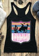 Cactus Burning Daylight O-Neck Casual Tank