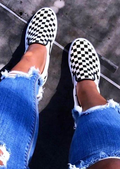 FairySeason / Plaid Slip-On Round Toe Flat Sneakers