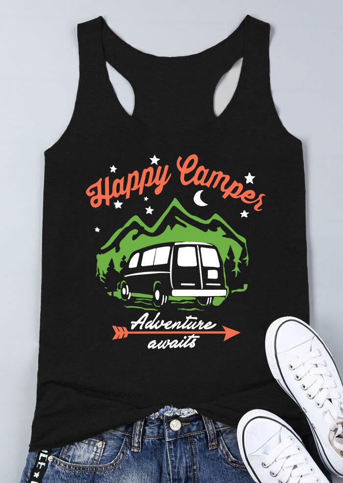 Happy Camper Adventure Awaits Tank – Black