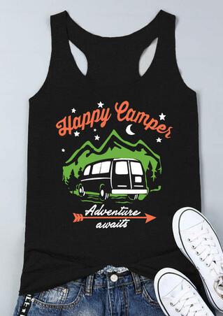 Happy Camper Adventure Awaits Tank - Black
