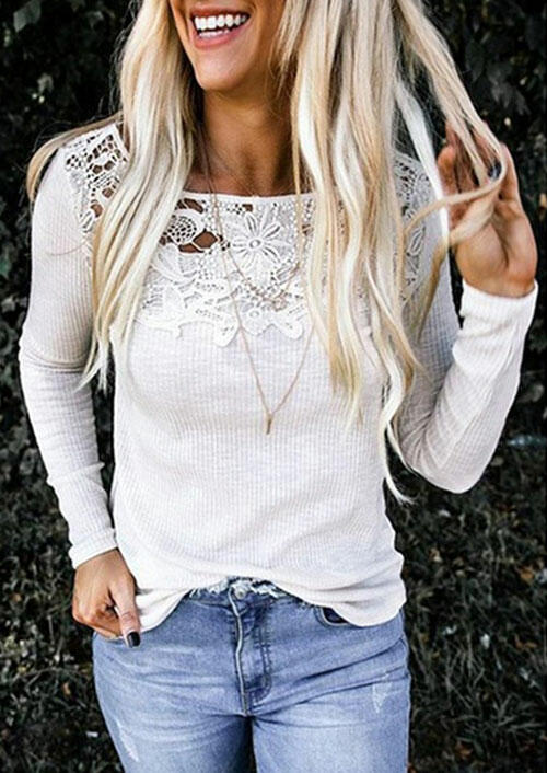 Lace Splicing Hollow Out Blouse without Necklace – White