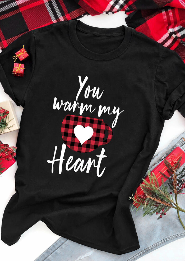 Tees T-shirts Plaid Splicing You Warm My Heart T-Shirt Tee in Black. Size: S,M,L,XL фото