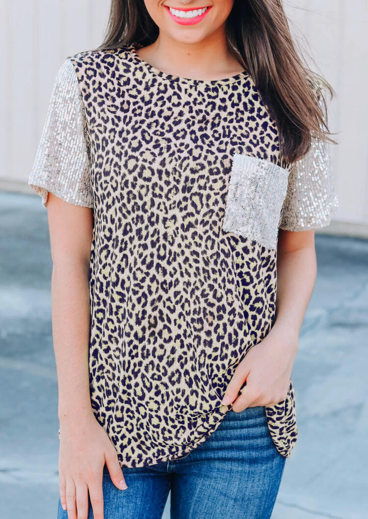 Leopard Printed Sequined Splicing Pocket T-Shirt Tee