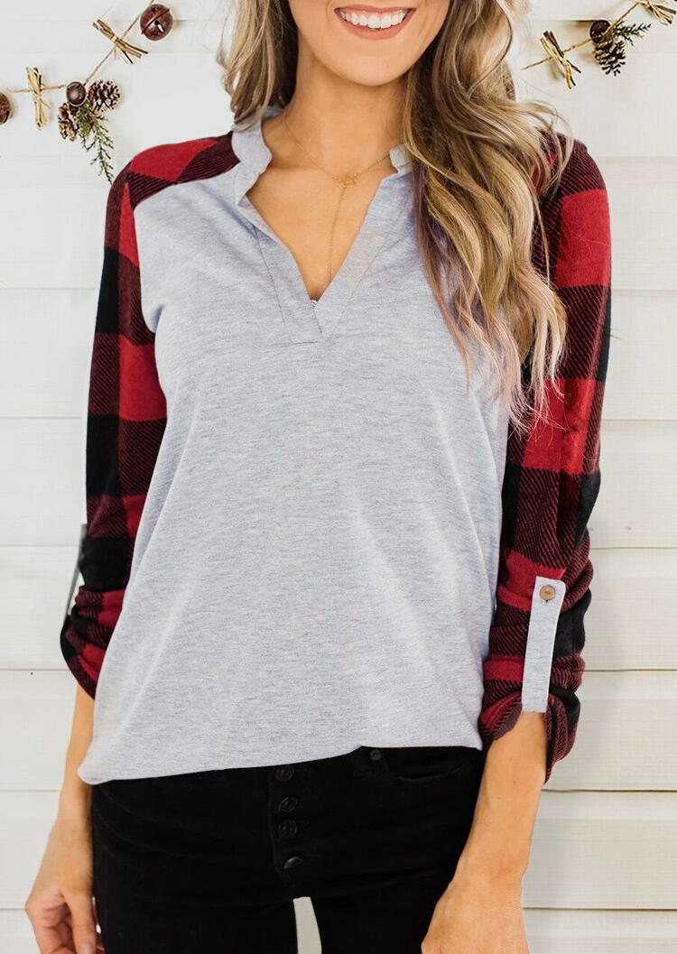 Plaid Printed Splicing Blouse without Necklace – Gray