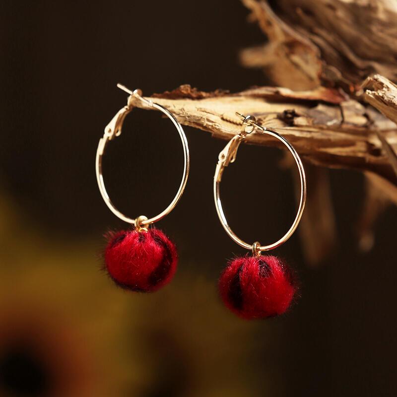 Leopard Printed Pompon Ball Big Circle Earrings
