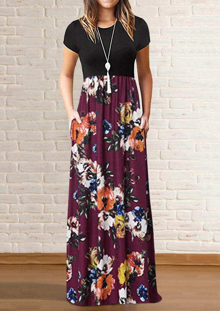 Burgundy Floral Bottoms Patchwork Black Top Short Sleeves Maxi Dress for Women in Burgundy. Size: S,M,L,XL фото
