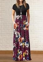 Floral Pocket Maxi Dress without Necklace - Burgundy