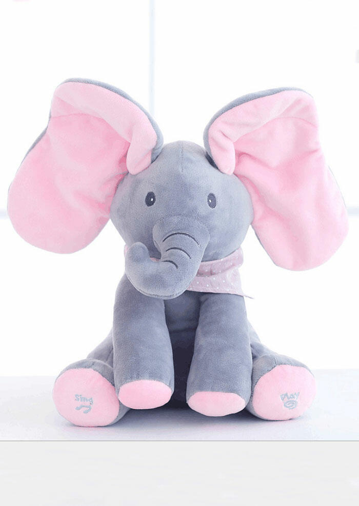 Baby Peek A Boo Flappy Plush Singing Toy Elephant