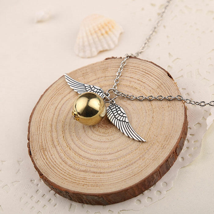 Wing Golden Bead Pendant Alloy Necklace