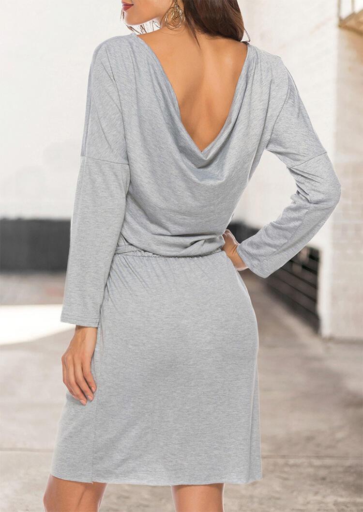 Pocket O-Neck Long Sleeve Mini Dress with Belt – Gray