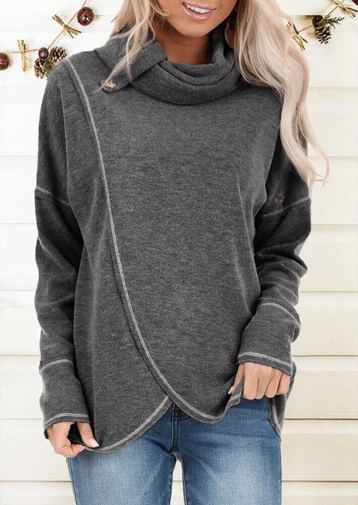 Cowl Neck Button Asymmetric Long Sleeve Blouse – Gray
