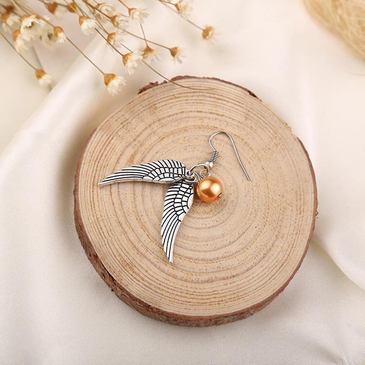 Wing Golden Bead Alloy Earrings
