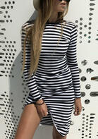 Striped Printed Long Sleeve Open Back Mini Dress
