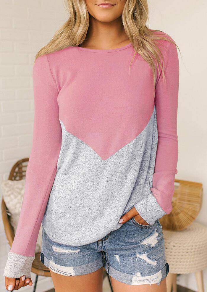 Color Block Long Sleeve T-Shirt Tee – Pink