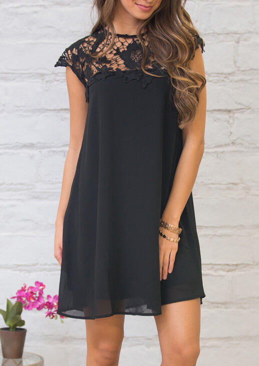 Floral Lace Splicing Hollow Out Mini Dress - Black фото