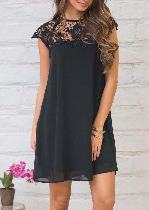 Floral Lace Splicing Hollow Out Mini Dress – Black