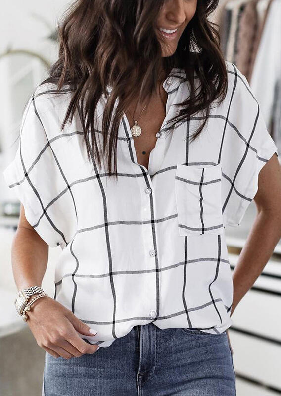 Shirts Plaid Pocket Batwing Sleeve Shirt without Necklace in White. Size: S,M,L,XL фото